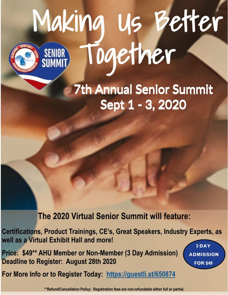 2020 Senior Summit Flyer for Virtual Event 9.1 to 9.3.20 - 3 Day