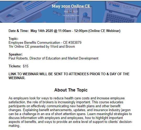 May Webinar & CE Course